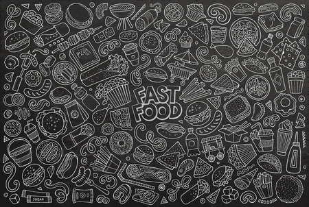 Illustration pour Line art vector hand drawn doodle cartoon set of fastfood objects and symbols - image libre de droit