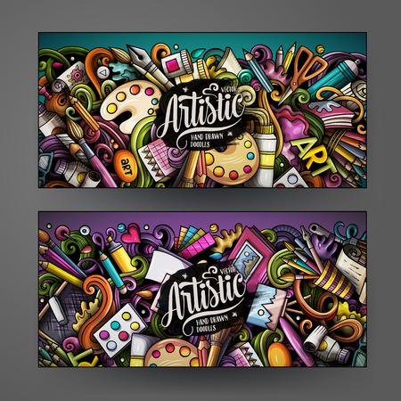 Illustration pour Cartoon cute colorful vector hand drawn doodles Artist corporate identity. 2 horizontal banners design. Templates set. All objects separate - image libre de droit