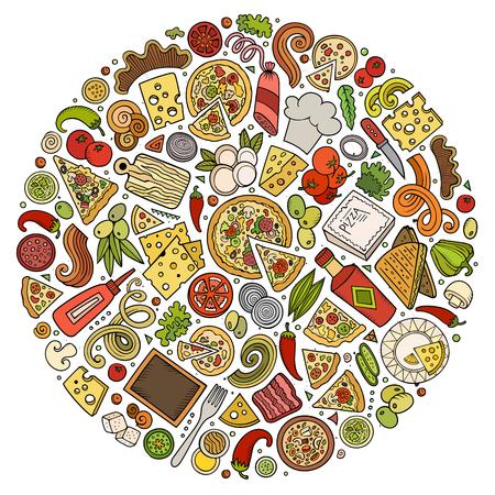 Photo pour Set of Pizza cartoon doodle objects, symbols and items - image libre de droit