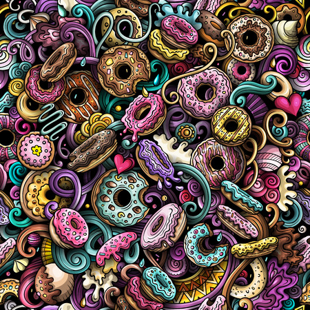 Illustration pour Cartoon cute doodles hand drawn Donuts seamless pattern. Colorful detailed, with lots of objects background. Endless funny vector sweet illustration. All objects separate. - image libre de droit