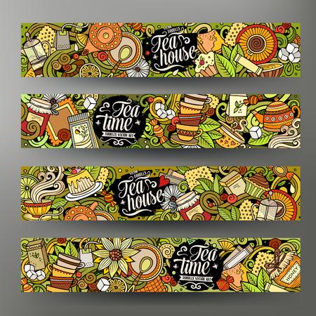 Ilustración de Cartoon cute colorful vector hand drawn doodles Pizzeria corporate identity. 4 horizontal banners design. Templates set. All objects separate - Imagen libre de derechos