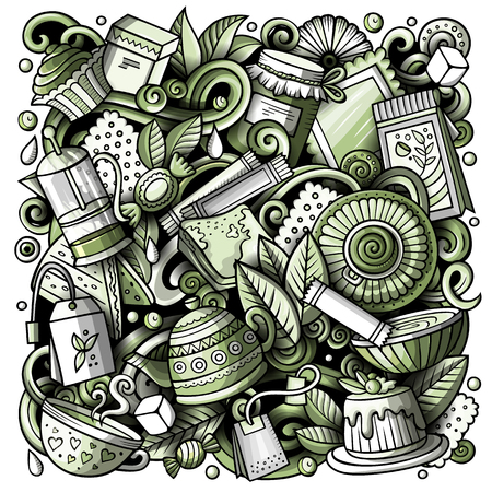 Ilustración de Cartoon vector doodles Tea illustration. Monochrome, detailed, with lots of objects background. All objects separate. Toned Cafe funny picture - Imagen libre de derechos