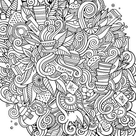 Ilustración de Cartoon cute doodles hand drawn Tea time illustration. Sketchy detailed, with lots of objects background. Funny vector artwork - Imagen libre de derechos
