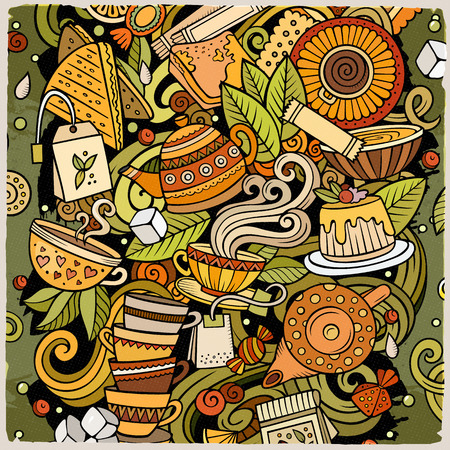 Ilustración de Cartoon vector doodles Tea illustration. Colorful, detailed, with lots of objects background. All objects separate. Bright colors Cafe funny picture - Imagen libre de derechos