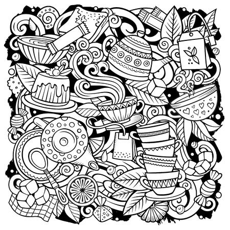Ilustración de Cartoon vector doodles Tea illustration. Sketchy, detailed, with lots of objects background. All objects separate. Line art Cafe funny picture - Imagen libre de derechos