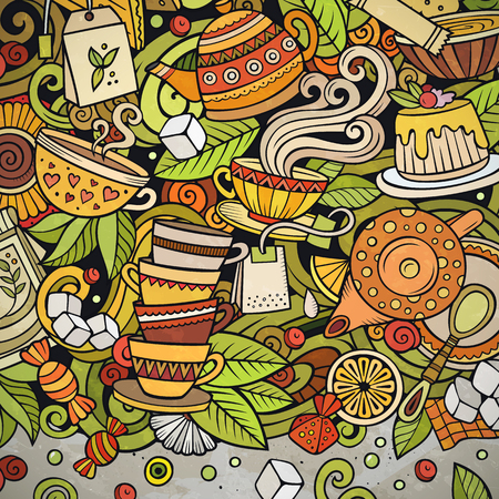 Ilustración de Cartoon vector doodles Tea time frame. Colorful, detailed, with lots of objects background. All objects separate. Bright colors cafe funny border - Imagen libre de derechos