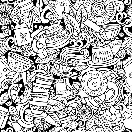 Ilustración de Cartoon cute doodles hand drawn Tea House seamless pattern. Line art detailed, with lots of objects background. Endless funny vector illustration. All objects separate. - Imagen libre de derechos