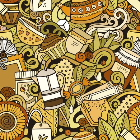 Ilustración de Cartoon cute doodles hand drawn Tea House seamless pattern. Colorful detailed, with lots of objects background. Endless funny vector illustration. All objects separate. - Imagen libre de derechos