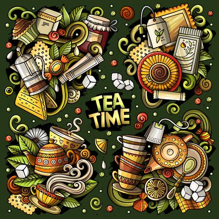 Ilustración de Colorful vector hand drawn doodles cartoon set of Tea combinations of objects and elements. All items are separate - Imagen libre de derechos