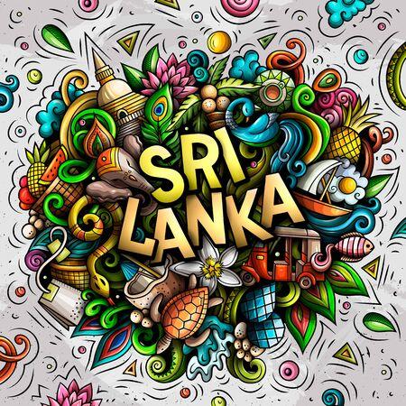 Ilustración de Sri Lanka hand drawn cartoon doodles illustration. Funny design. - Imagen libre de derechos