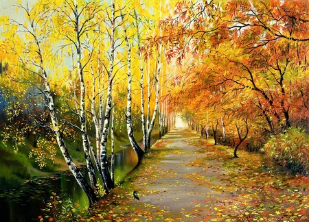 Autumn road along the channel mural
