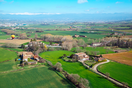 Photo pour Aerial view of the suburb of the Spanish city of Vic. Spain, province Barcelona - image libre de droit