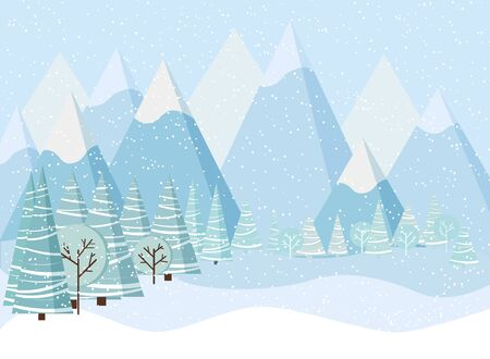 Illustration pour Beautiful Christmas winter landscape background with mountains, snow, trees, spruces in cartoon flat style. Vector illustration. - image libre de droit