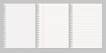 Ilustración de Set of vector realistic illustrations of a torn sheet of paper from a workbook - Imagen libre de derechos