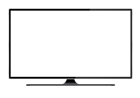 Illustrazione per Realistic illustration of black TV with stand and blank white isolated screen with space for your text or image - vector - Immagini Royalty Free