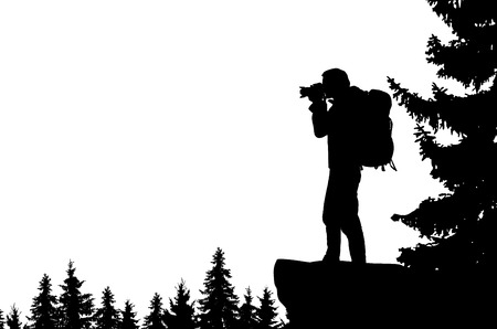 Illustration pour Realistic illustration of a man's silhouette with camera and backpack. It stands on the bay in the mountains and looks into the valley of the forest. Vector - image libre de droit