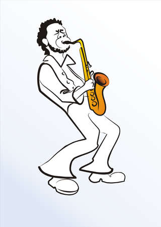 black man with saxophone