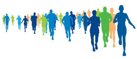Ilustración de marathon runners, illustration of a running athletes - Imagen libre de derechos