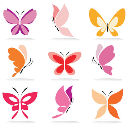 Photo for set of butterfly icons, isolated vector illustration - Royalty Free Image