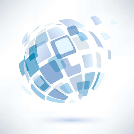Illustration for abstract globe symbol, isolated vector icon, internet and social network concept - Royalty Free Image