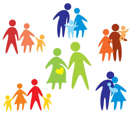 Illustration for happy family icons collection multicolored in simple figures - Royalty Free Image