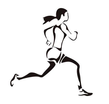 Ilustración de woman running silhouette  - Imagen libre de derechos
