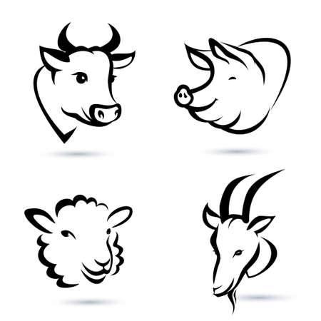 Illustration for farm animals icons set - Royalty Free Image
