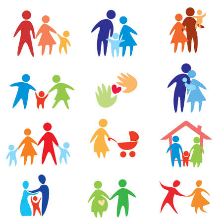 Foto de happy family icons, vector symbols collection - Imagen libre de derechos