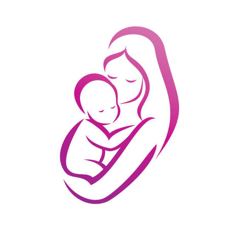 Photo for mother and her baby silhouette, isolated vector symbol - Royalty Free Image
