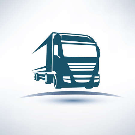 Illustration pour  europian truck outlined vector symbol - image libre de droit