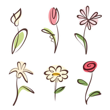 Illustration pour outlined hand drawn flower collection, design elements set - image libre de droit
