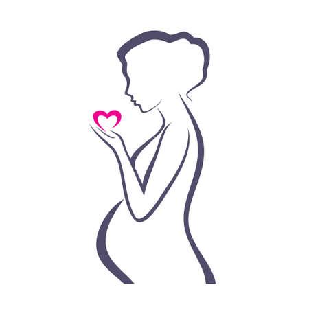 Ilustración de pregnant woman symbol, stylized vector sketch - Imagen libre de derechos