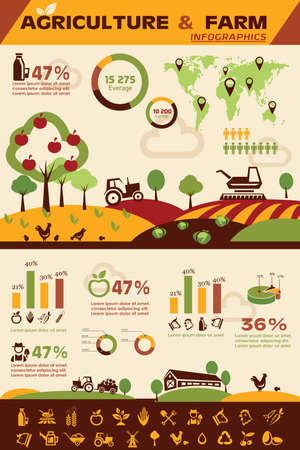 Illustration pour agriculture and farming infographics, vector icons collection - image libre de droit