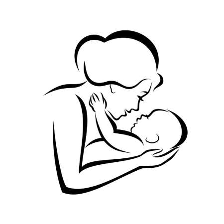 Illustration for mother and baby stylized vector symbol - Royalty Free Image