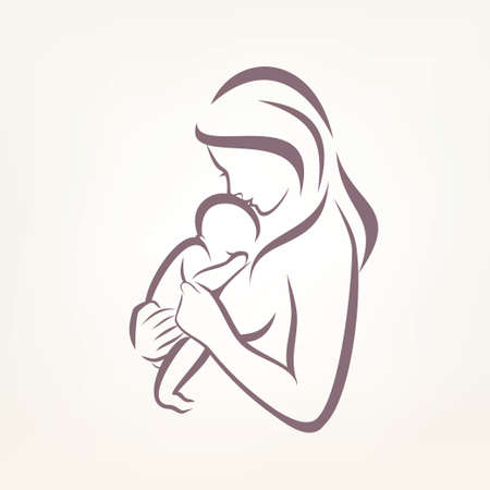 Illustration for mom and baby stylized vector symbol, outlined sketch - Royalty Free Image