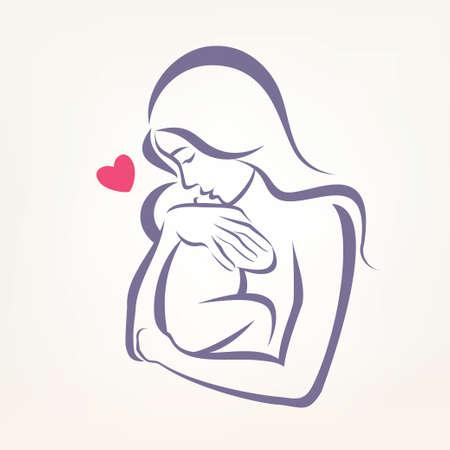 Ilustración de mom and baby stylized symbol, outlined sketch - Imagen libre de derechos