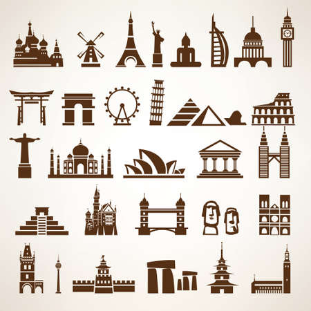 Illustration pour big set of world landmarks and historic buildings vector silhouettes and icons - image libre de droit
