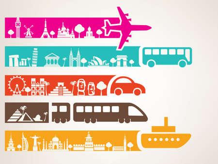Photo pour world travel by different kinds of transport, landmarks set - image libre de droit