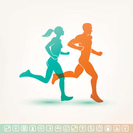 Photo for running man and woman silhouette, outlined vector sketch, fitness concept, fitness tracker icons - Royalty Free Image