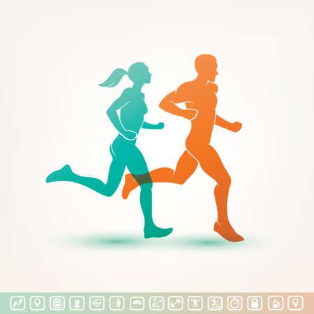 Ilustración de running man and woman silhouette, outlined vector sketch, fitness concept, fitness tracker icons - Imagen libre de derechos