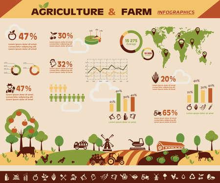 Ilustración de agriculture and farming infographics, vector icons collection - Imagen libre de derechos