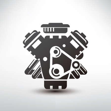 Ilustración de car engine symbol, stylized vector silhouette of automobile motor - Imagen libre de derechos