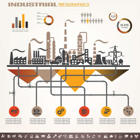 Illustration pour industry infographics template, set of industrial icons - image libre de droit