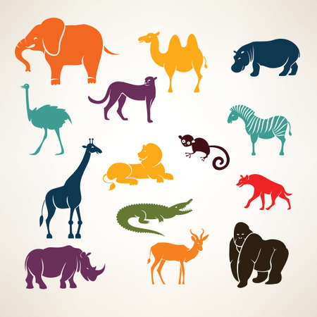 Photo pour african animals stylized vector silhouettes - image libre de droit