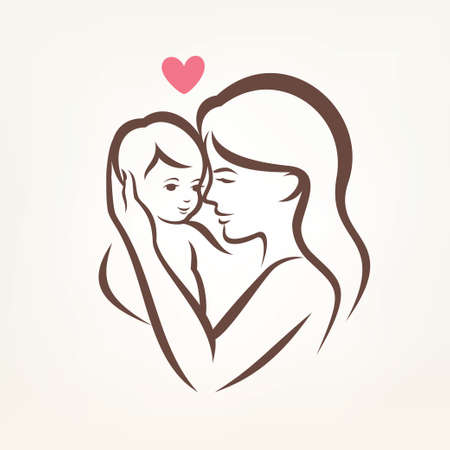 Illustration for mother and son stylized vector silhouette, outlined sketch of mom and child - Royalty Free Image