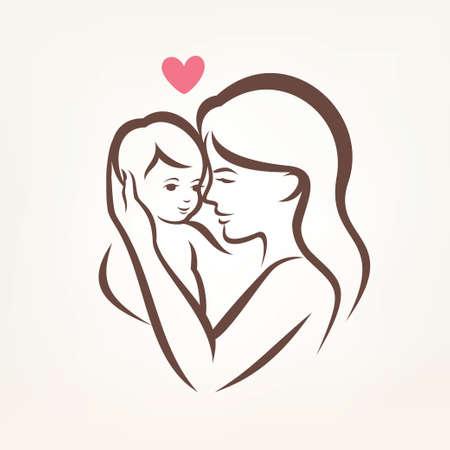 Ilustración de mother and son stylized vector silhouette, outlined sketch of mom and child - Imagen libre de derechos
