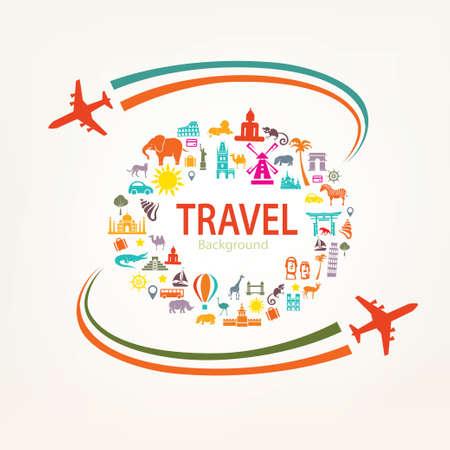 Photo pour world travel, landmarks silhouettes icons set - image libre de droit
