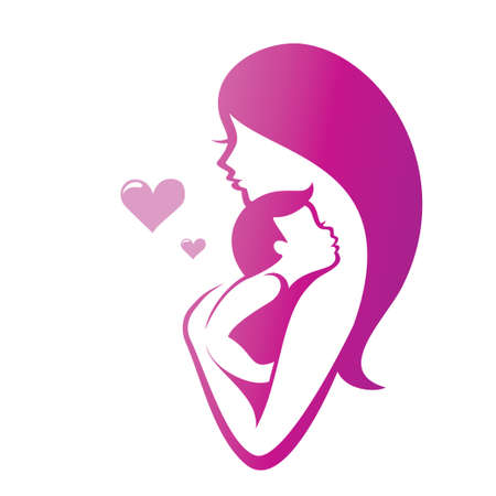 Illustration for mother and son vector symbol - Royalty Free Image