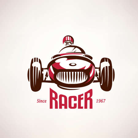 Foto de retro race car, vintage vector symbol, emblem, label template - Imagen libre de derechos