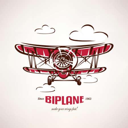 Ilustración de retro biplane, vintage airplane vector symbol, emblem, label template - Imagen libre de derechos